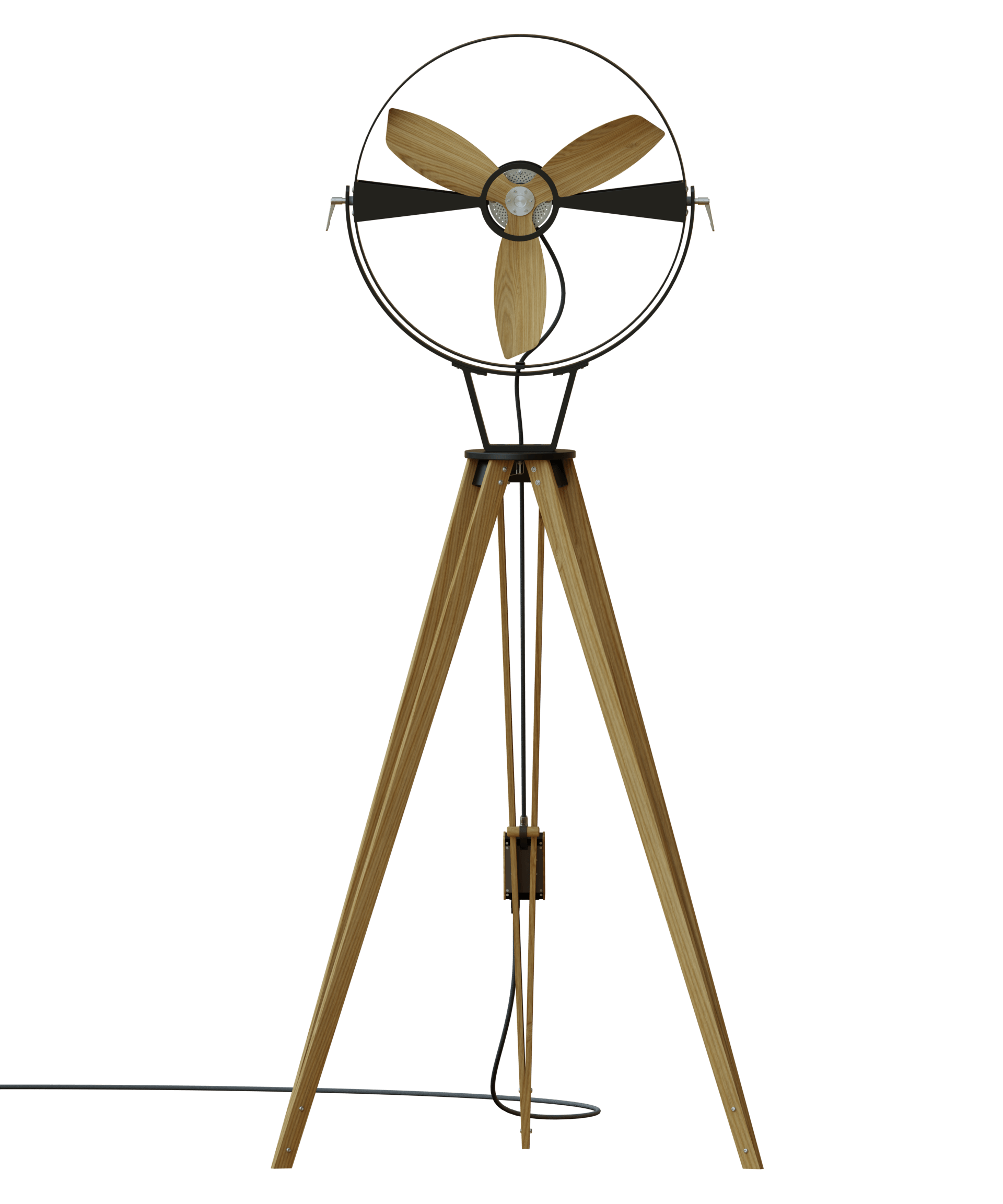 AURA Black - TTATO´s wooden tripod fan in front view
