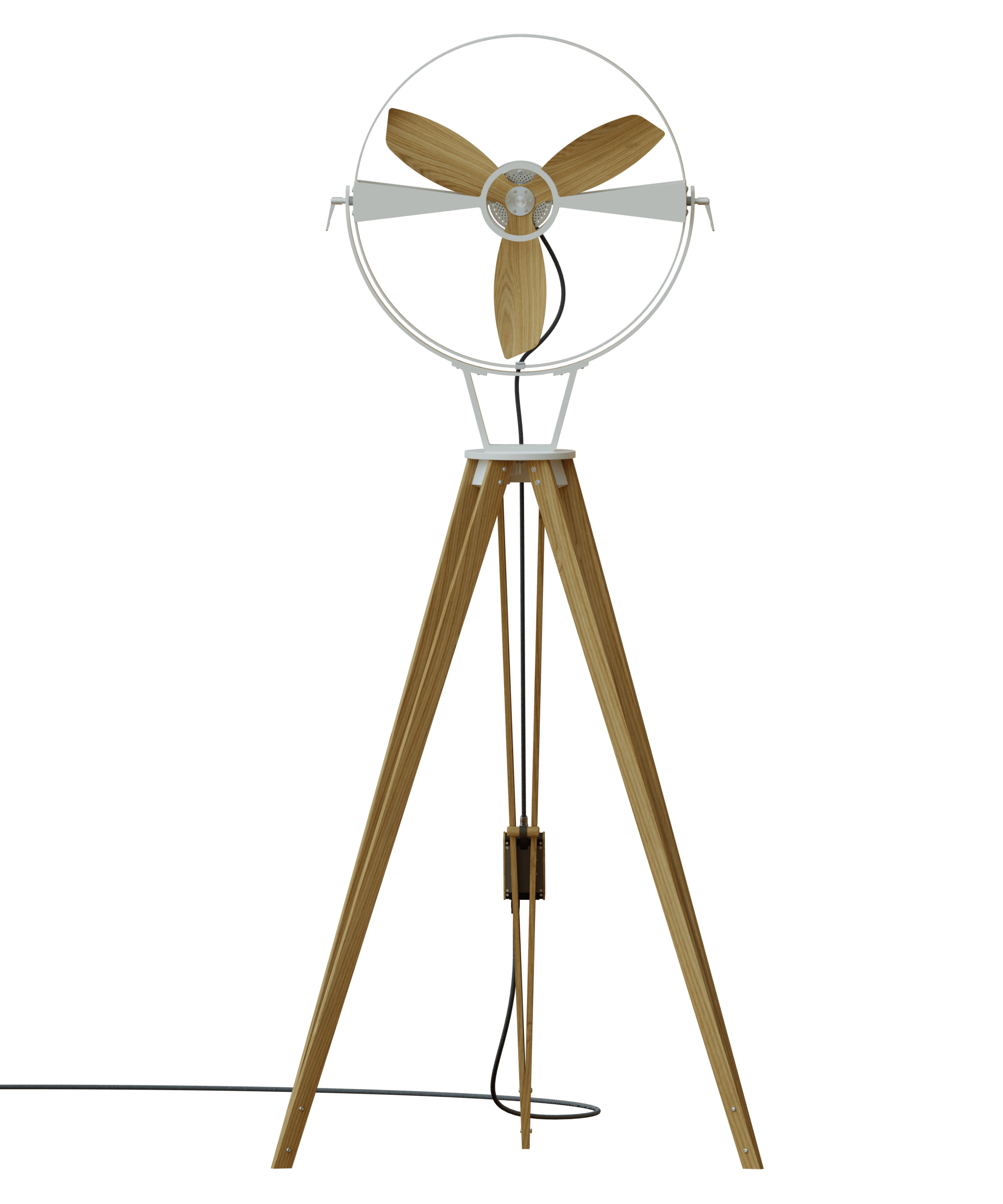 AURA White - TTATO´s wooden tripod fan in front view