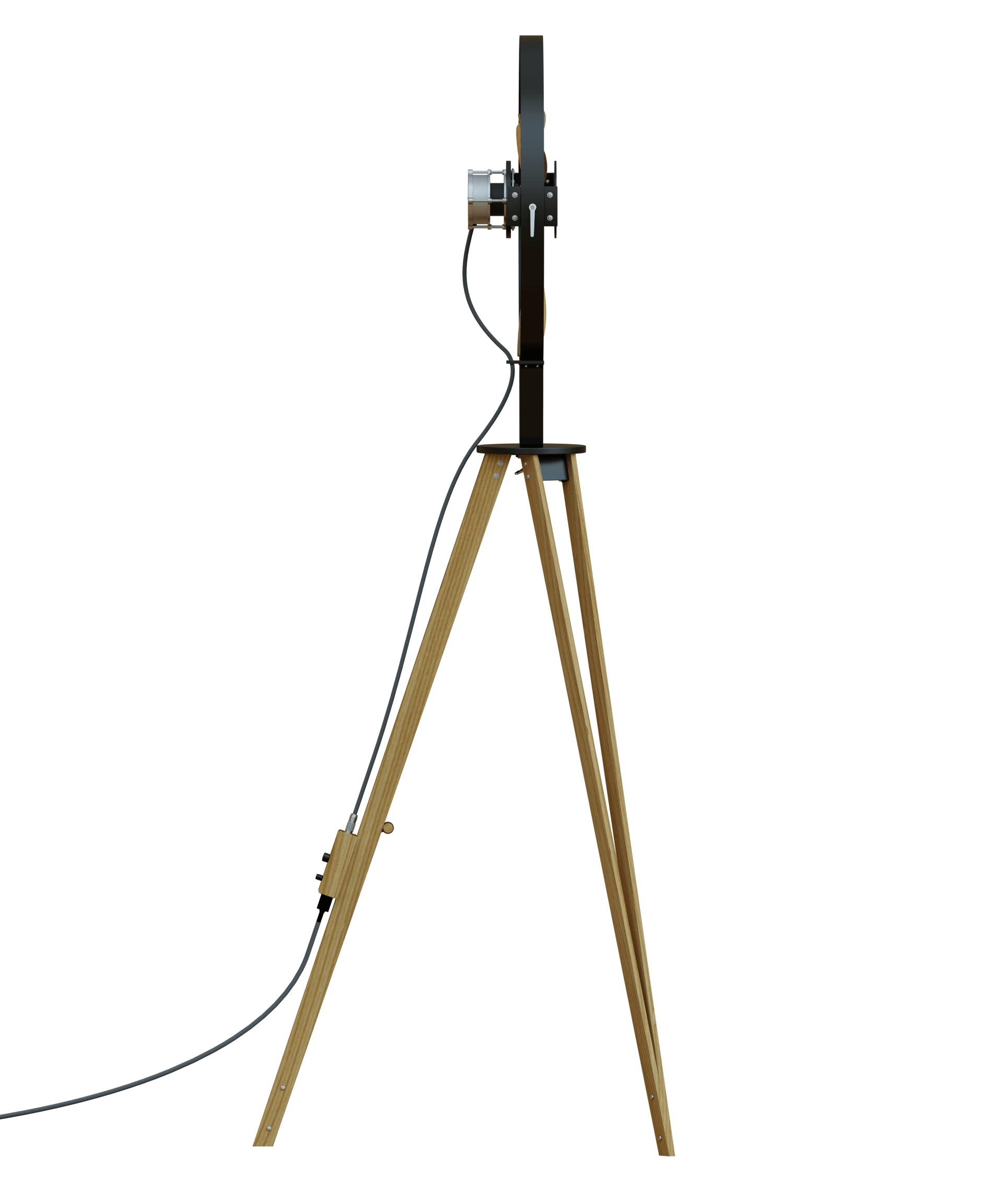 AURA Black - TTATO´s wooden tripod fan in side view