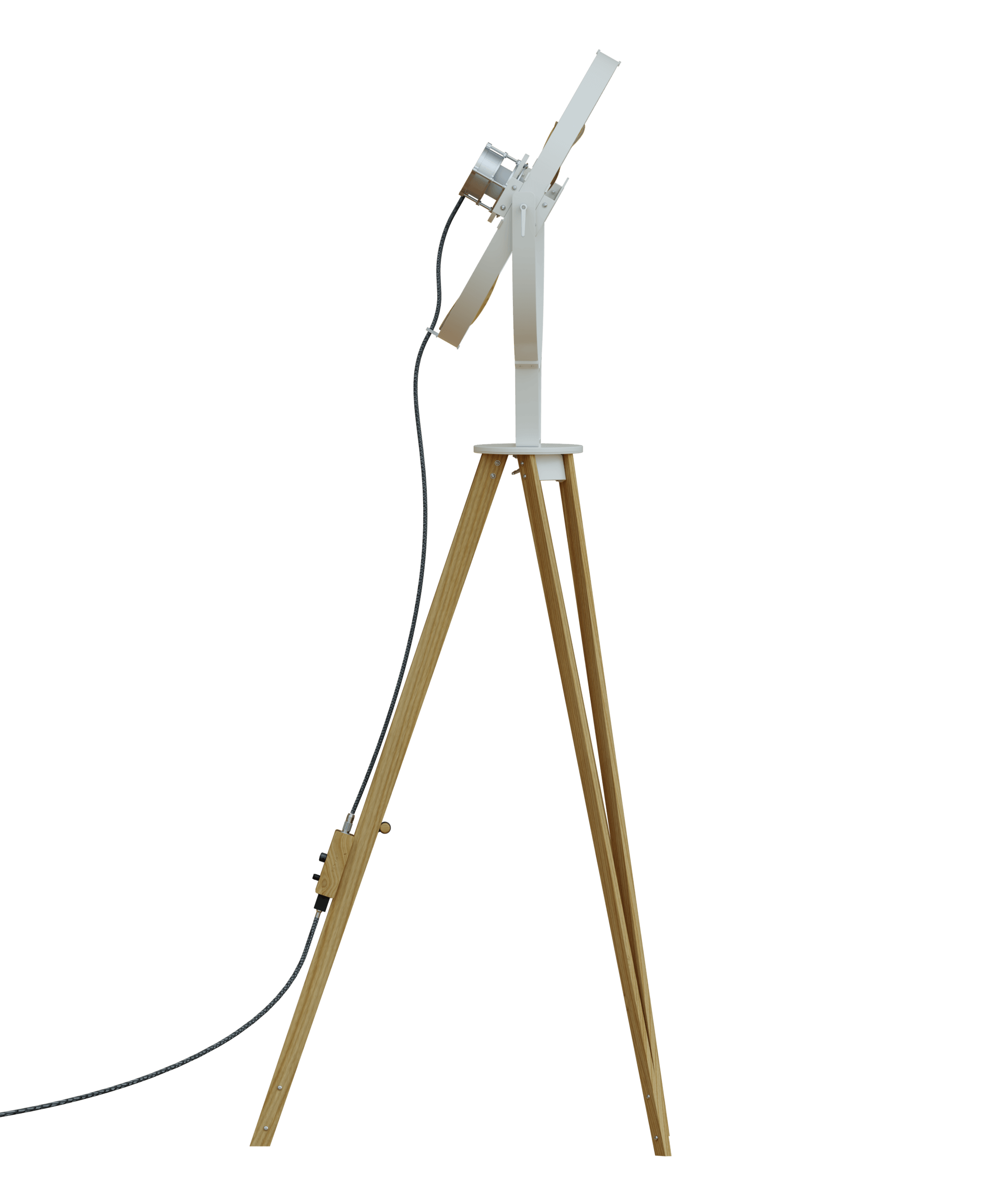 AURA White - TTATO´s wooden tripod fan in side view